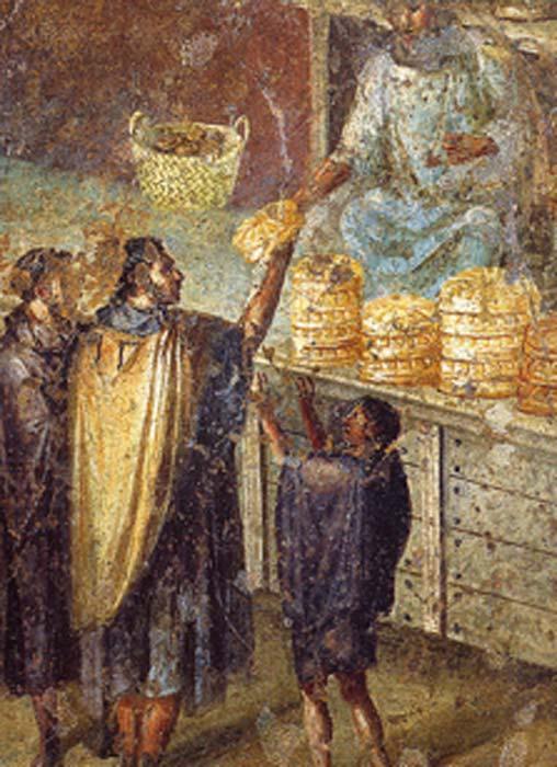 Venta de pan en un puesto en el mercado. Fresco romano de la Praedia de Julia Felix en Pompeya. (Dominio publico)