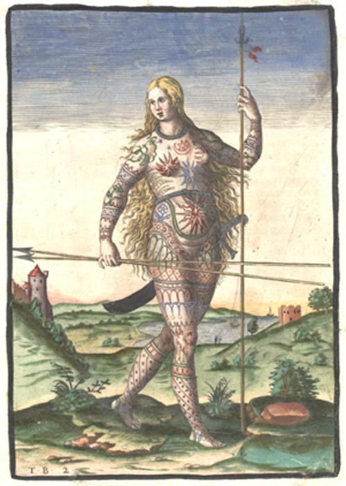 Versión coloreada a mano del grabado de Theodor de Bry de una mujer Pict (dominio público)