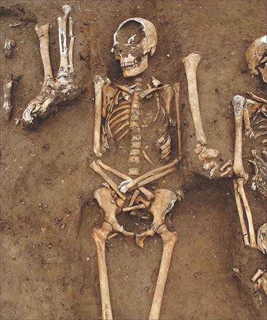 Las víctimas que murieron de la Peste Negra en el hospital de la abadía recibieron un entierro cristiano. (Universidad de Sheffield / Antiquity Publications Ltd)