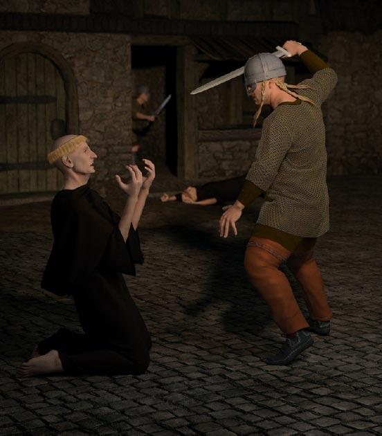 Vikingos atacan el monasterio de Lindisfarne Crédito: Algol / Adobe Stock
