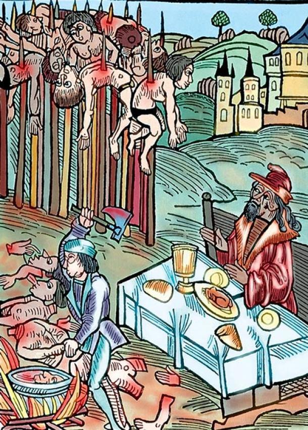 Versión en color de un grabado en madera de la página de título de un folleto de 1499 publicado por Markus Ayrer en Nuremberg. Representa a Vlad el Empalador cenando entre los cadáveres empalados de sus víctimas. (Dominio público)