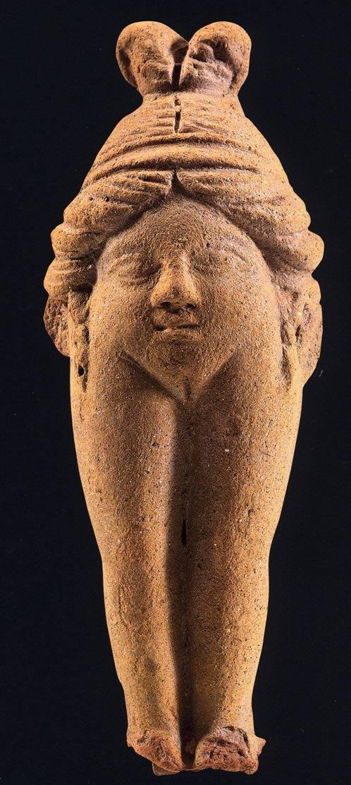 Figurilla de una vulva-mujer conocida como Baubo, terracota, Priene, Asia Menor, siglo IV d. C. (Reddit)