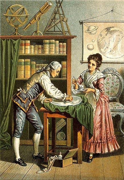 William y Carolina Herschel puliendo un espejo telescópico. (GreenMeansGo / CC BY-SA 2.0)