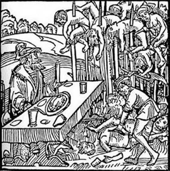 """Grabado en madera de la página de título de un folleto de 1499 publicado por Markus Ayrer en Nuremberg. Representa a Vlad III """"el Empalador"""" cenando entre los cadáveres empalados de sus víctimas. (Dominio publico)"""