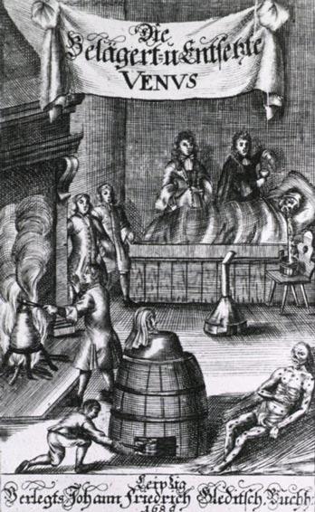 Una xilografía de 1689 que muestra varios métodos de tratamiento de la sífilis, incluida la fumigación con mercurio. Imágenes de la Historia de la Medicina (NLM)