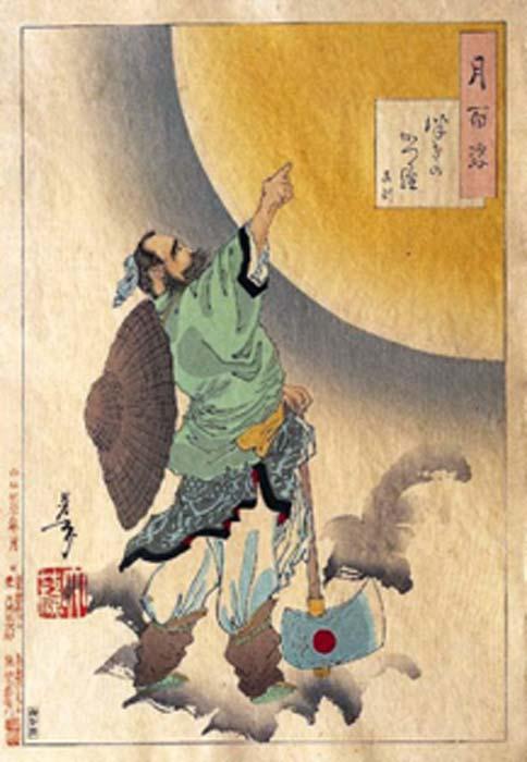 Wu Gang tuvo que cortar un árbol de laurel, pero el árbol milagrosamente crecía a diario. (Catfisheye / Dominio público)